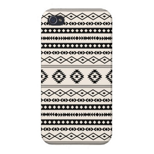 Aztec Black on Cream Mixed Pattern Case For iPhone 4