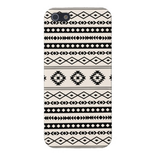 Aztec Black on Cream Mixed Pattern Case For iPhone SE/5/5s