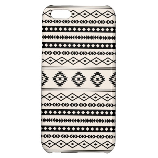 Aztec Black on Cream Mixed Pattern Case For iPhone 5C