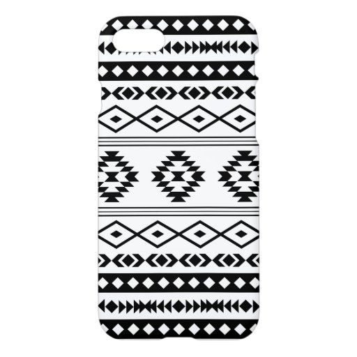 Aztec Black on White Mixed Motifs Big Pattern iPhone 8/7 Case