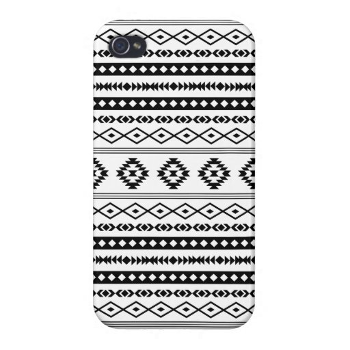 Aztec Black on White Mixed Pattern Case For iPhone 4