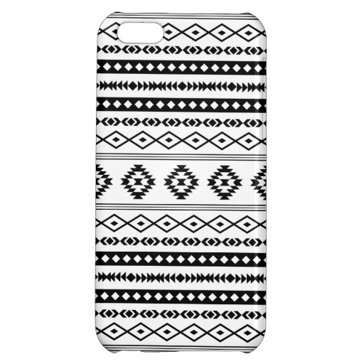 Aztec Black on White Mixed Pattern Case For iPhone 5C