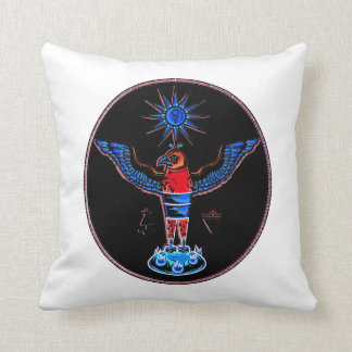 aztec black style eagle sun symbols pagan design.p pillows