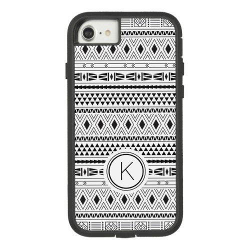 Aztec Black White Geometric Stripe Monogram Case_Mate Tough Extreme iPhone 87 Case