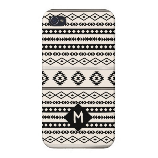 Aztec Blk on Crm Mixed Motif Pattern (Customized) Case For iPhone 4