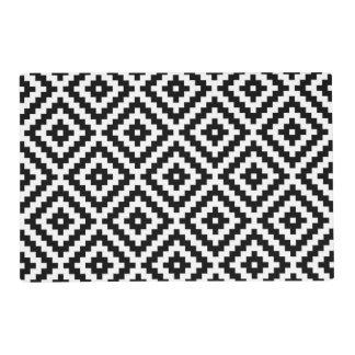 Aztec Block Symbol 2Way Ptn Black & White Placemat