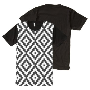 Aztec Themed Aztec Block Symbol Lg Ptn Black & White II All-Over-Print Shirt