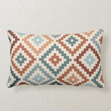 Aztec Themed Aztec Block Symbol Ptn Teals Cream Terracottas Lumbar Pillow