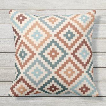 Aztec Themed Aztec Block Symbol Ptn Teals Cream Terracottas Outdoor Pillow