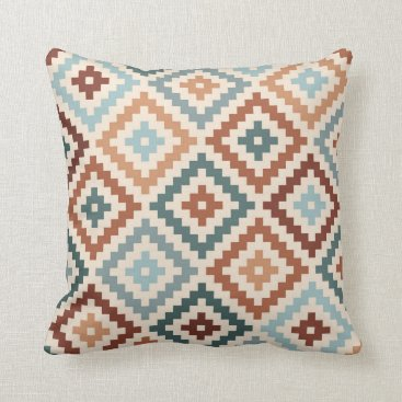 Aztec Themed Aztec Block Symbol Ptn Teals Cream Terracottas Throw Pillow