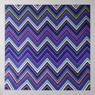 Aztec Blue Green Purple  Chevron Girly Pattern Poster