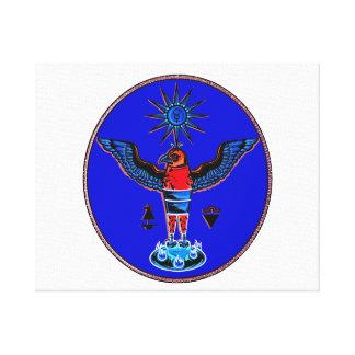 aztec blue style eagle sun symbols pagan design.pn stretched canvas print