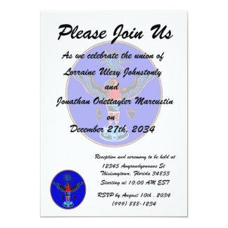 aztec blue style eagle sun symbols pagan design.pn personalized invitations