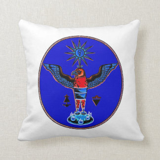 aztec blue style eagle sun symbols pagan design.pn pillow