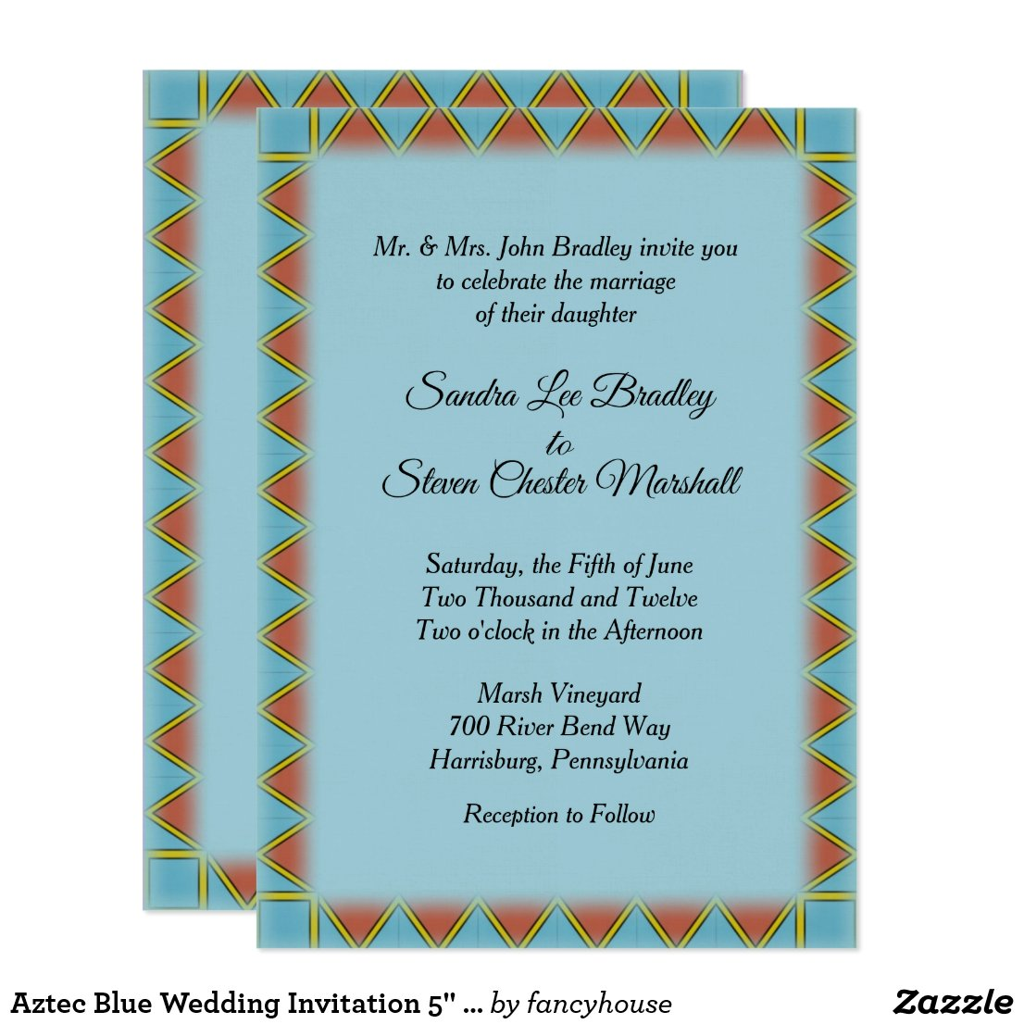 Aztec Blue Wedding Invitation 5