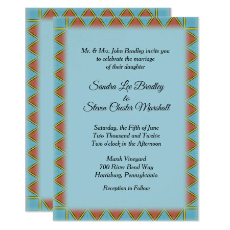 Aztec Blue Wedding Invitation 5