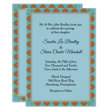 "Aztec Themed Aztec Blue Wedding Invitation 5"" x 7"""