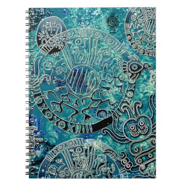 Aztec Themed Aztec blues Photo Notebook (80 Pages B&W)