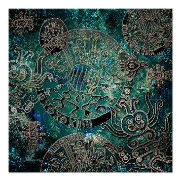 Aztec Themed Aztec blues  Poster Paper (Semi-Gloss)