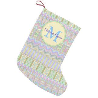 Aztec Boho Pastels Monogram Christmas Southwest Small Christmas Stocking