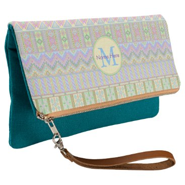 Aztec Themed Aztec Boho Pastels Monogram Fashion Essential Clutch