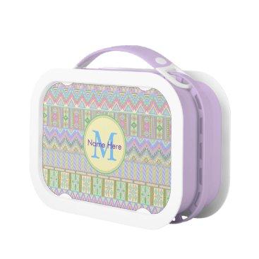 Aztec Themed Aztec Boho Pastels Monogram Girly Chic Pattern Lunch Box
