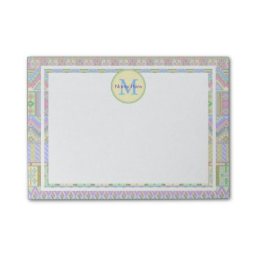 Aztec Themed Aztec Boho Pastels Monogram Name Home Or Office Post-it Notes