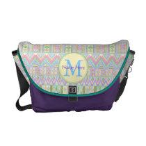 Aztec Boho Pastels Monogram School Or Work Girly Courier Bag