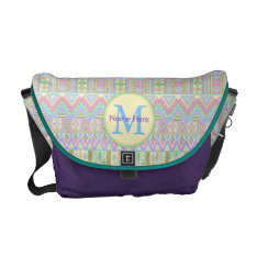 Aztec Boho Pastels Monogram School Or Work Girly Courier Bag at Zazzle