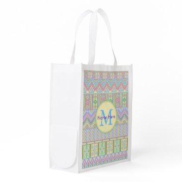 Aztec Themed Aztec Boho Pastels Monogram Yellow Mint Pink Fun Grocery Bag