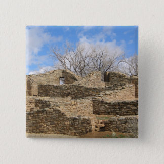 aztec brick ruins with nice sky pinback button
