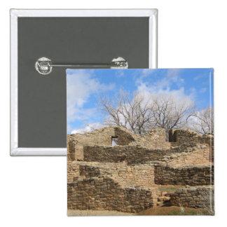 aztec brick ruins with nice sky pinback button
