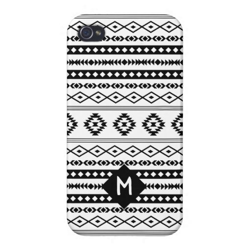 Aztec BW Mixed Motif Pattern (Customized) Case For iPhone 4