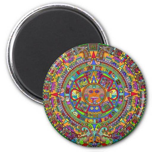 Aztec Calendar 2 Inch Round Magnet