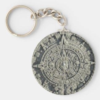Aztec Calendar Basic Round Button Keychain