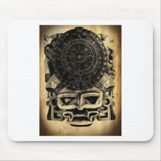 Aztec Calendar Design Mask Mexican Sunstone Mouse Pad