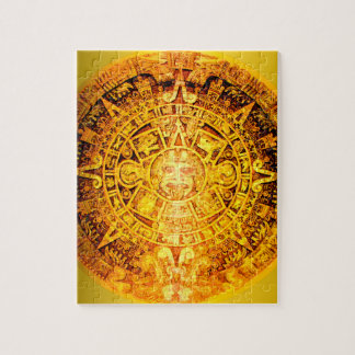 Aztec Calendar Gold Effect Jigsaw Puzzle