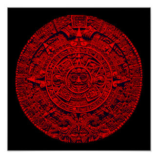 Aztec Calendar (in red) Posters
