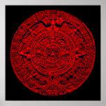Aztec Calendar (in red) Posters