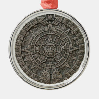 Aztec Calendar Round Metal Christmas Ornament