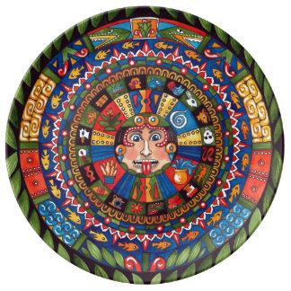 """Aztec Calendar Porcelain Plate 10"""""""