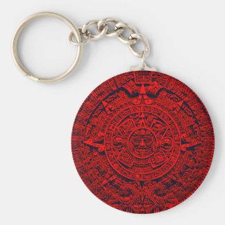 Aztec Calendar - red Basic Round Button Keychain