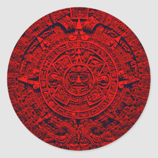 Aztec Calendar - red Classic Round Sticker
