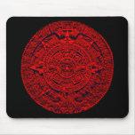 Aztec Calendar - red Mouse Pad