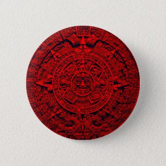 Aztec Calendar - red Pinback Button