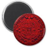 Aztec Calendar - red Refrigerator Magnets