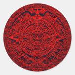 Aztec Calendar - red Round Sticker