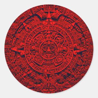 Aztec Calendar - red Stickers