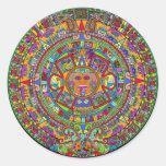 Aztec Calendar Round Stickers
