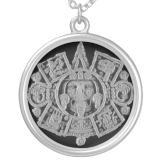 Aztec calendar silver plated necklace